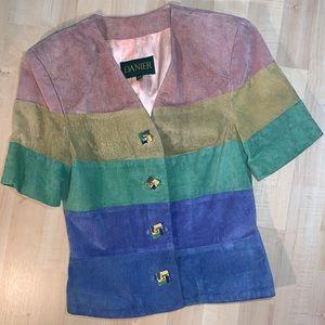 DANIER Vintage Suede Rainbow Short Sleeve Blazer